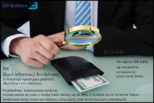 Midsection of young businessman examining wallet with magnifying glass at office desk